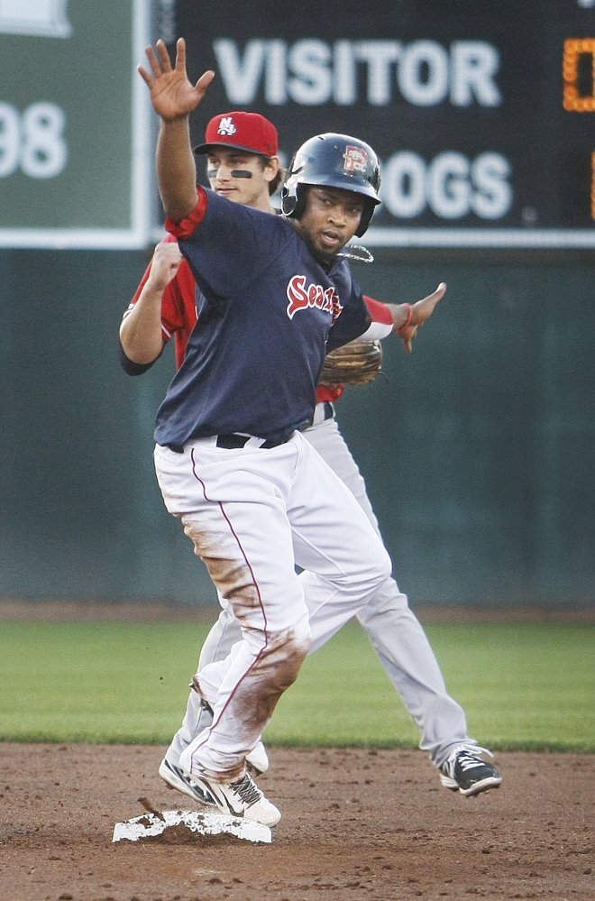 Keury De La Cruz looks for safe call at second base on an attempted stolen base, only to get the bad news that he didn't beat the tag by Fisher Cats second baseman Jorge Flores.