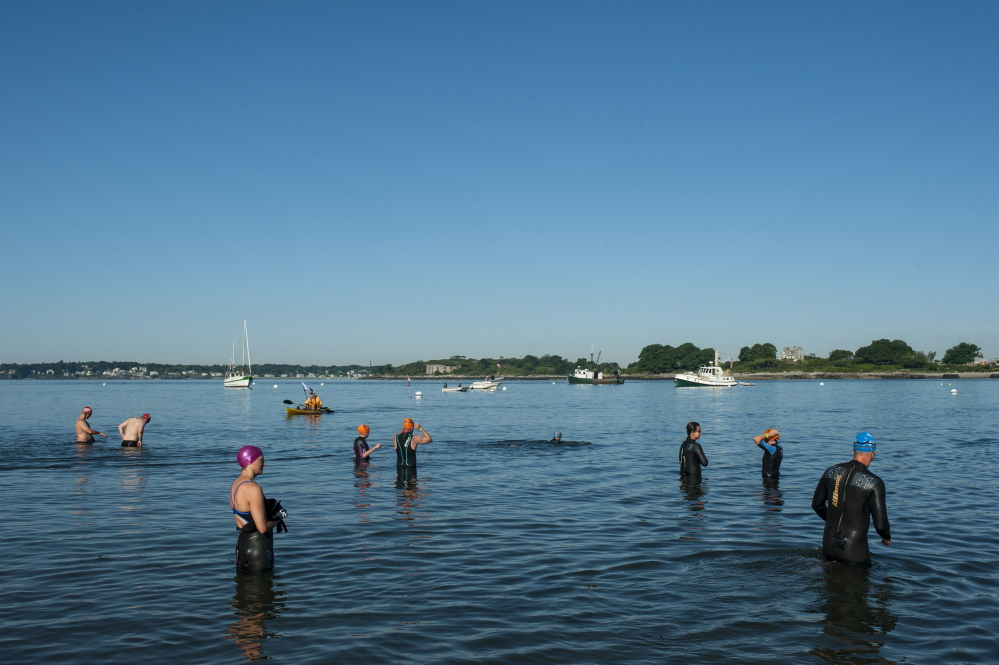 Swimmers warm up in the cold water before the Peaks to Portland on Saturday.