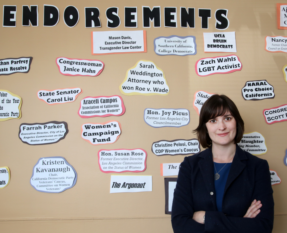 Sandra Fluke is shown in her campaign office in Los Angeles. She is seeking a seat in the California Senate.