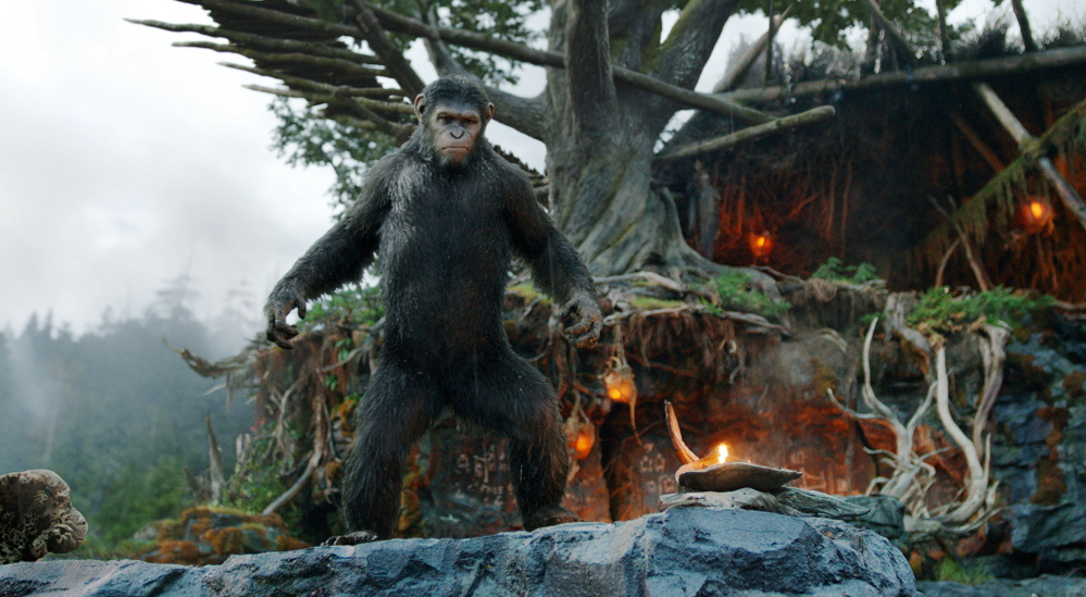 "Andy Serkis plays the lead ape, Caesar, in a scene from ""Dawn of the Planet of the Apes."" The sequel had a global opening gross of $104.1 million globally."