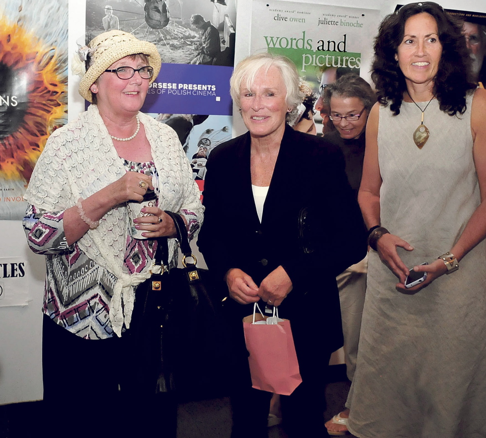 Actress Glenn Close, center, is flanked by Cheryl McKenney, left, and Arleen King-Lovelace after speaking with fans in Waterville. Close received the Maine International Film Festival's Mid-Life Achievement award.