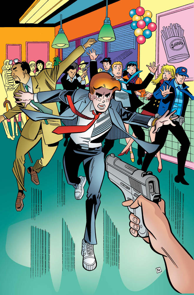 "In this image furnished by Archie Comics, Archie tries to foil an assassination attempt in ""Life with Archie,"" issue 37.  The Associated Press"