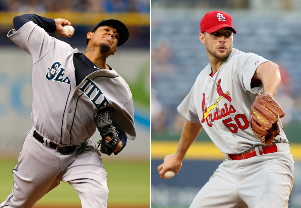 This combination made from file photos shows Seattle Mariners starting pitcher Felix Hernandez, left, and St. Louis Cardinals starting pitcher Adam Wainwright. Hernandez will start Tuesday night's All-Star game for the American League and Wainwright will open for the National League.