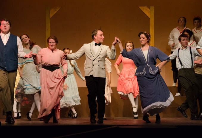 "Performing in ""Music Man"" are, from left, Marcellus played by Robert Collinge; Ethel played by Samantha Bagdon; Harold Hill played by Dan Clay; and Marian played by Sarah Andrews."
