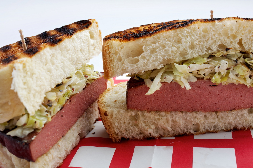 Grilled smoked bologna and yellow mustard grilled slaw sammies.
