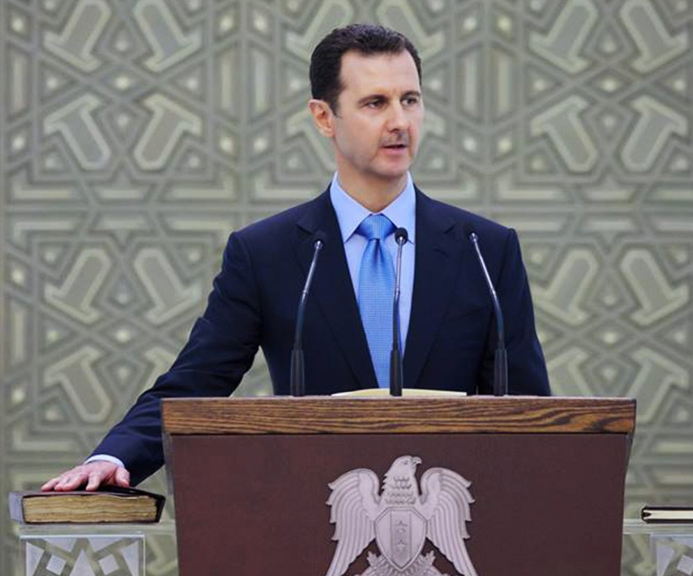 Syria's President Bashar Assad is sworn for his third seven-year term, in Damascus, Syria, on Wednesday.