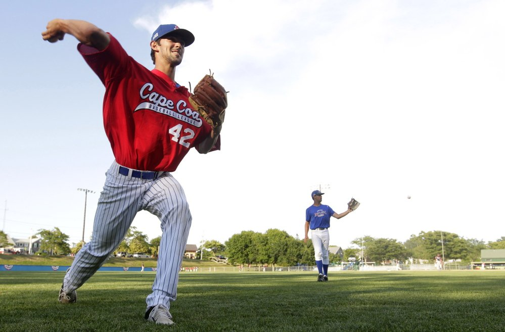 Lou Distasio of Yarmouth is working on his change-up this summer while pitching for the Chatham Anglers in the Cape Cod League. Distasio will be a junior this fall at the University of Rhode Island.