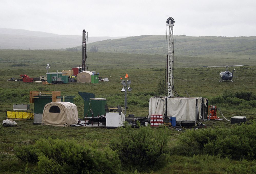 Workers with the Pebble Mine project test-drill in the Bristol Bay region of Alaska near the village of Iliamma in this 2007 photo.