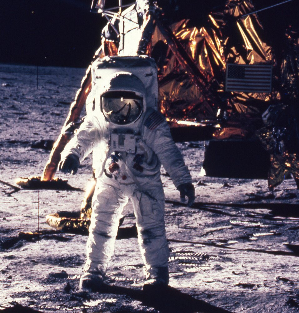 "In this July 20, 1969, file photo provided by NASA, astronaut Edwin E. ""Buzz"" Aldrin Jr. walks on the surface of the moon, shown with seismogaphic equipment that he just set up."