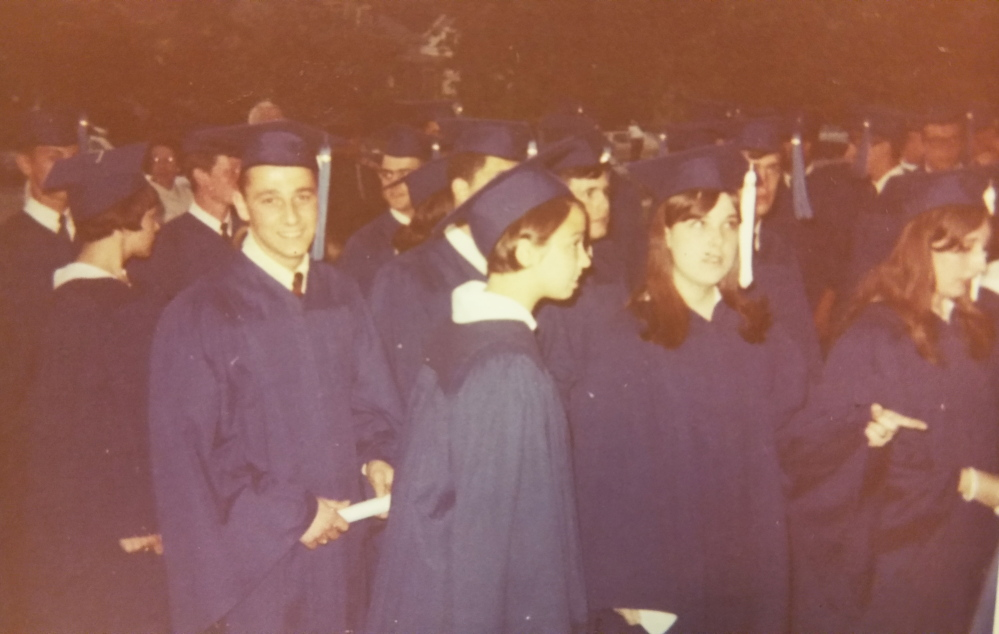 Photo of Paul LePage at Lewiston High School graduation in 1967, far left, facing camera. Courtesy of Gov. Paul LePage