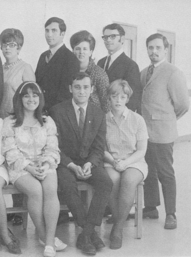 Paul LePage, center, in the front row from a Husson College yearbook in a group photo for students in the Tomahawk Tally, a newsletter. LePage was with the Tally from 1968-1970. Husson College is now Husson University.