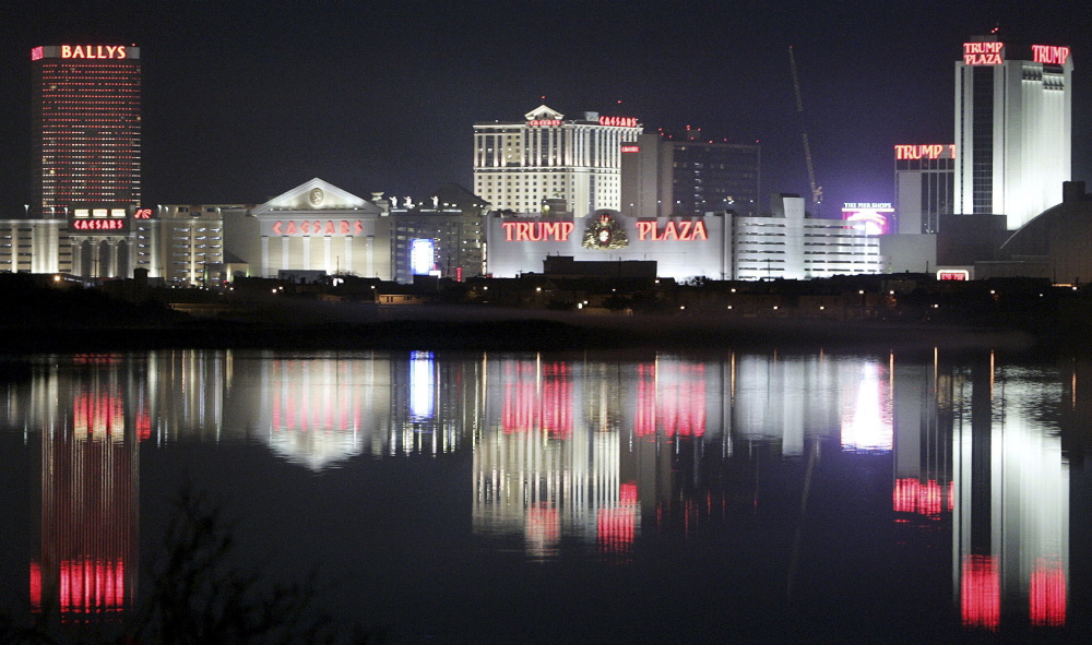 Hotels and casinos in Atlantic City, N.J., are reflected in the water in a November 2007 photo.