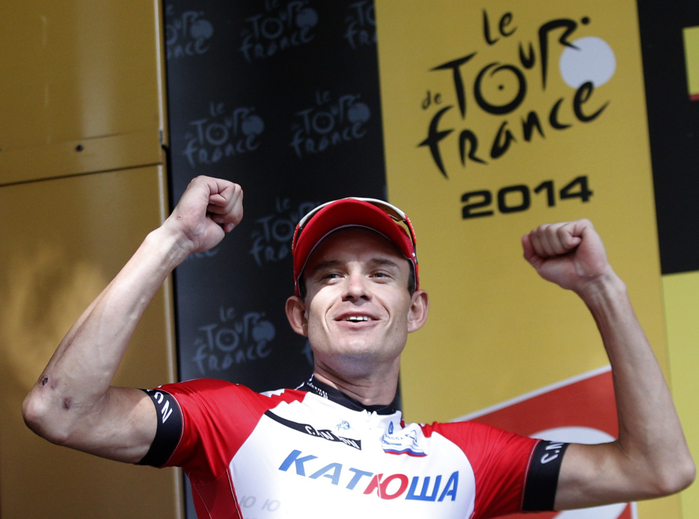 Stage winner Norway's Alexander Kristoff celebrates on the podium of the 15th stage of the Tour de France on Sunday.