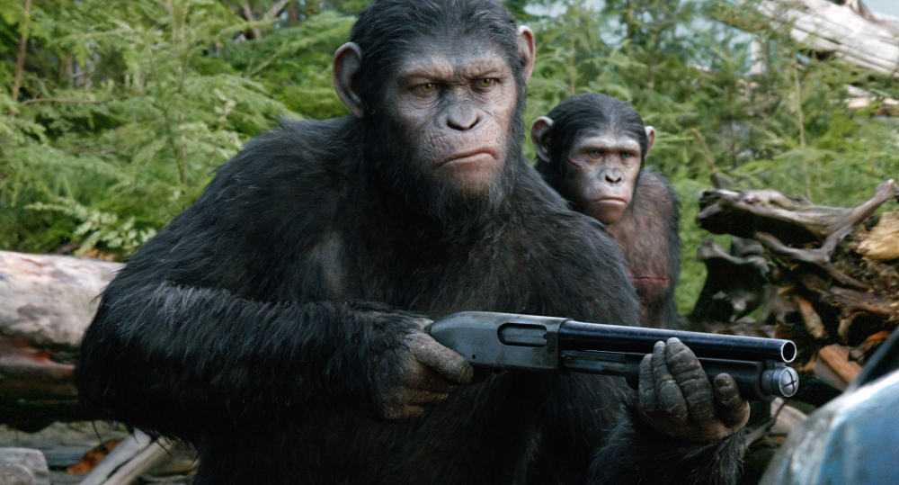"""Andy Serkis plays Caesar in a scene from """"Dawn of the Planet of the Apes,"""" from Twentieth Century Fox."""