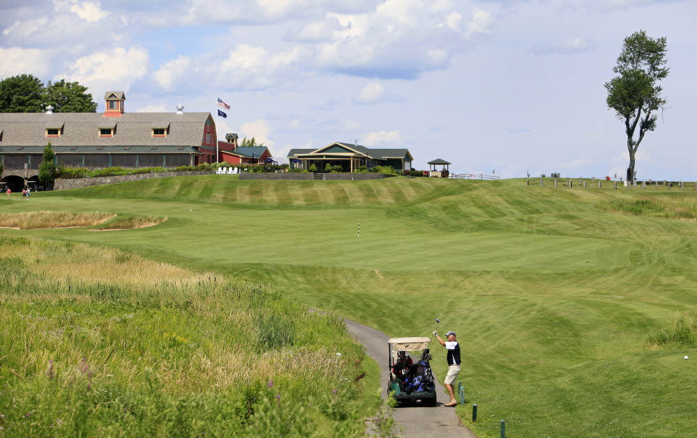 The 17th green at The Links at Outlook is a par-5 that can be reached in two shots. The second shot is straight downhill. It's on the side of the course that offers a true New England flavor.