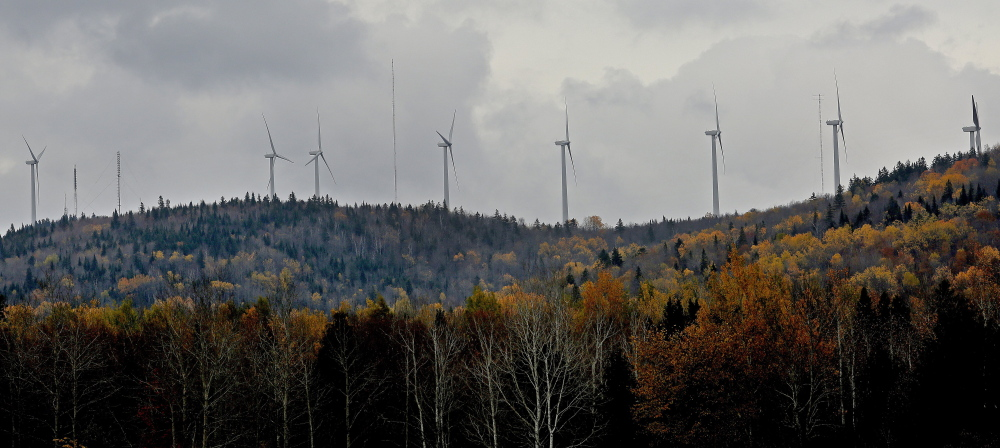 Wind turbines such as those atop Mars Hill near the Maine-Canadian border could spread to other parts of the state.