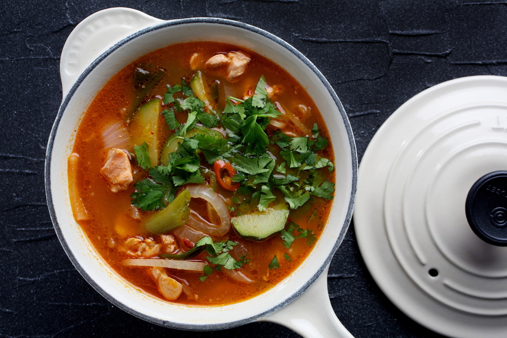 Spicy fish stew is Korean comfort food, hearty yet delicate.