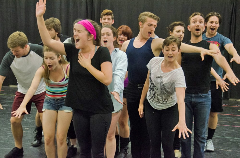 "Courtesy photo The cast rehearses for ""Godspell"" in concert, to be presented twice on Monday at Maine State Music Theatre in Brunswick."