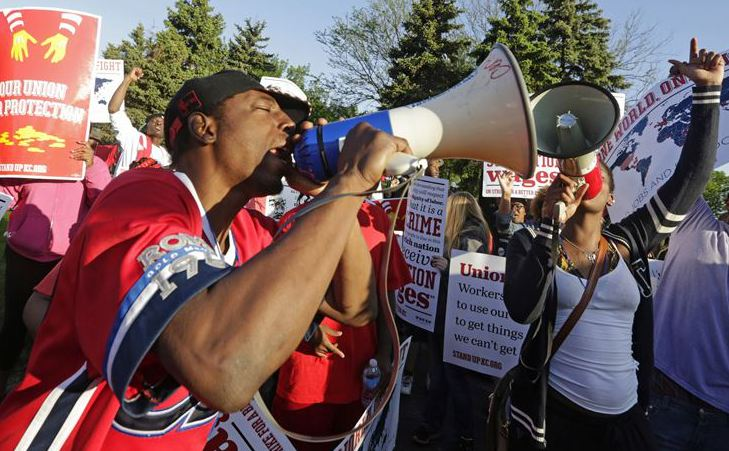Protesters gather outside  the McDonald's Corp. shareholders meeting in Oak Brook, Ill., on May 22, demonstrating for higher wages and the right to unionize.