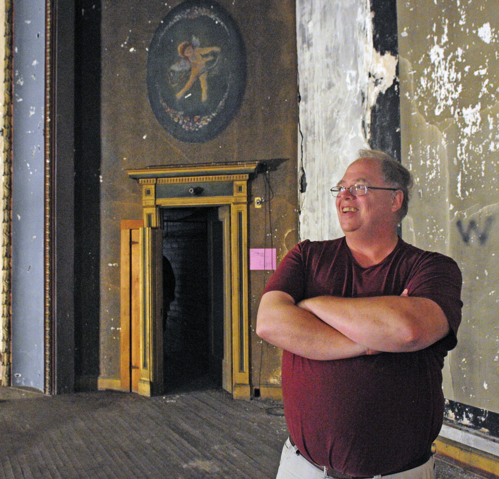 UMA drama teacher and overall arts enthusiast David Greenham sees possibilities aplenty for a renovated Augusta Colonial Theater that had its last picture show in 1969.