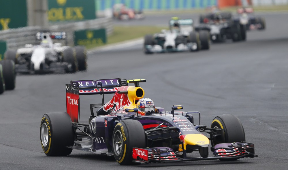 Red Bull driver Daniel Ricciardo of Australia steers his car during the Hungarian Formula One Grand Prix in Budapest, Hungary, Sunday.