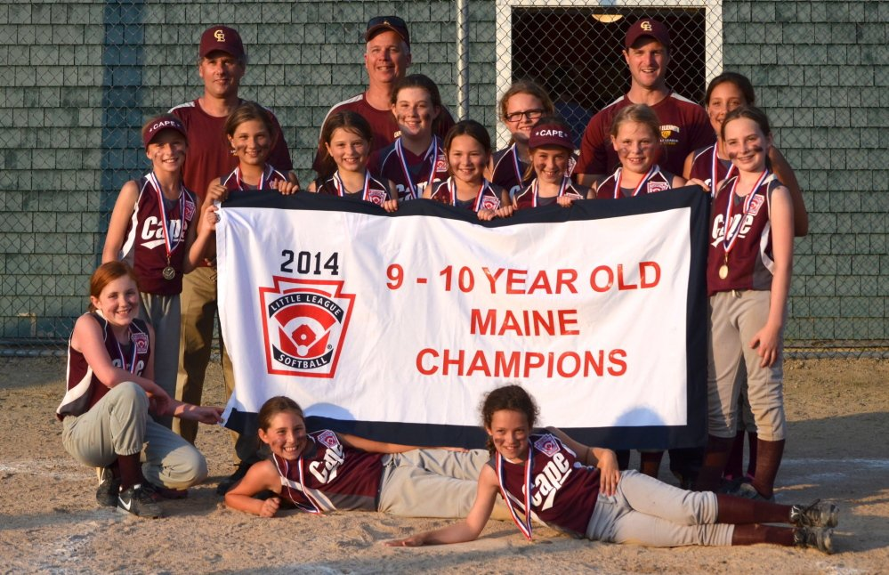 Cape Elizabeth captured the Little League softball state championship for 9- and 10-year-olds, defeating South Lewiston 9-1 in the championship game. Cape Elizabeth qualified for the Eastern Regional in Old Forge, Pennsylvania, starting Aug. 1. Team members, from left to right: Front – Abigail Scifres, Dana Schwartz and Hannah Mosher; Middle row – Helena Rieger, Clara Parker, Kathryne Clay, Anna Cornell, Esme Song, Katherine Callahan, Analise Gordon, Katharine Blackburn, Haley McIntyre and Abby Agrodnia; Back – Coach Mark Parker, Coach Jim Cornell, Coach Jeffrey Schwartz.