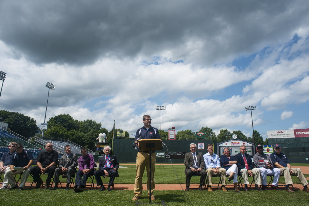 Representatives of the Portland Seadogs and their sponsors announce the 2015 Eastern League All-Star Game will be held in Portland at Hadlock Field on Tuesday. Logan Werlinger/Staff Photographer