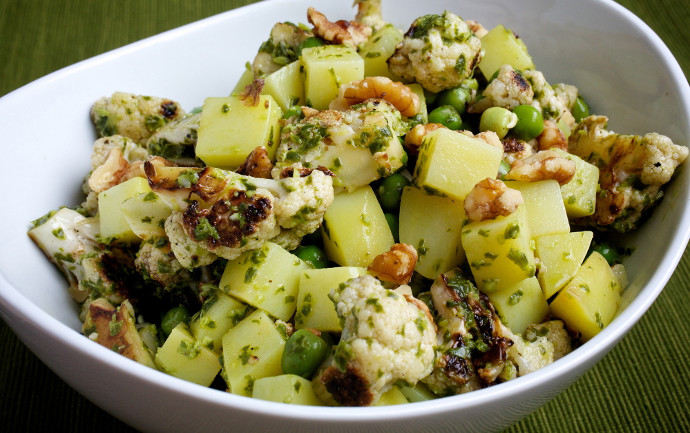 Pasta such as gemelli can be be added to make Pesto Cauliflower and Potato Salad more substantial.