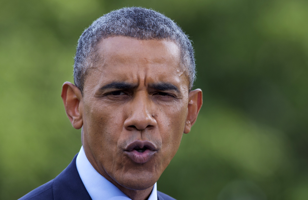 President Barack Obama speaks on the South Lawn of the White House in Washington Tuesday.