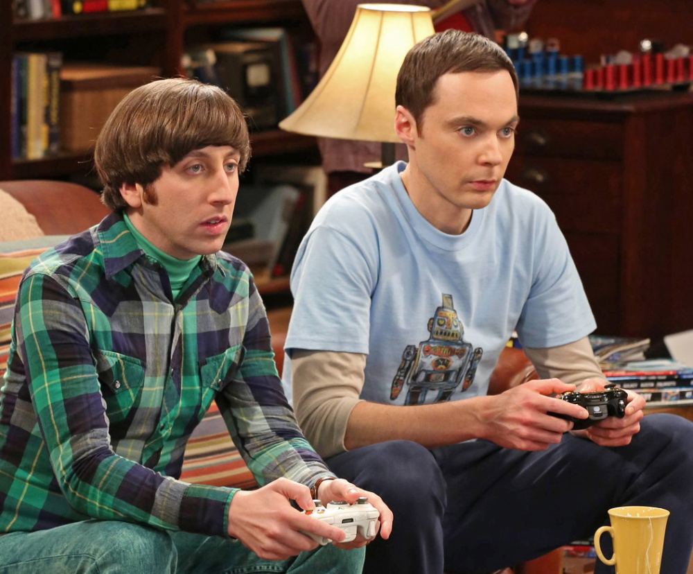 "Jim Parsons, right, and Simon Helberg in ""The Big Bang Theory."""