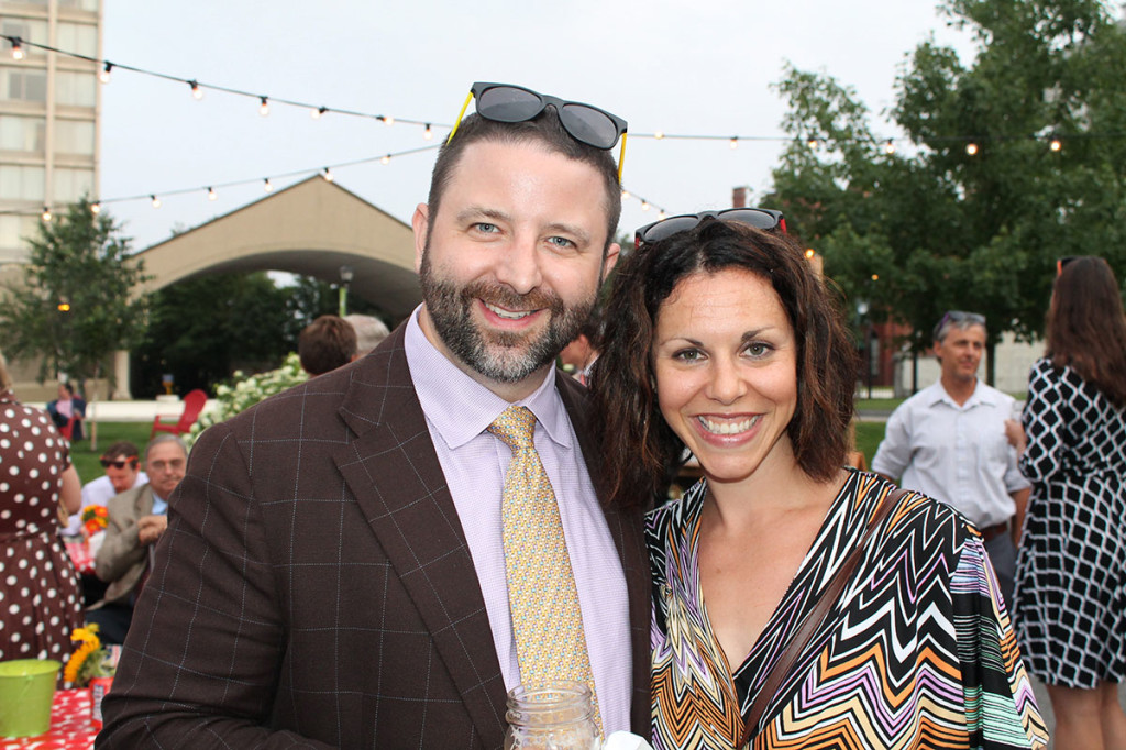 "Bryan and Jen Shumway of Scarborough donning their complimentary ""shades"" at The Contemporaries Midsummer party in Portland."