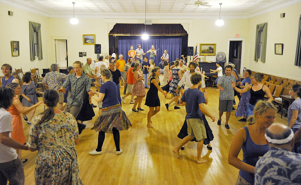 The floor was full of happy square dancers at the (Put Your) Hoe Down: A Raucous Square Dance Party in Topsham.
