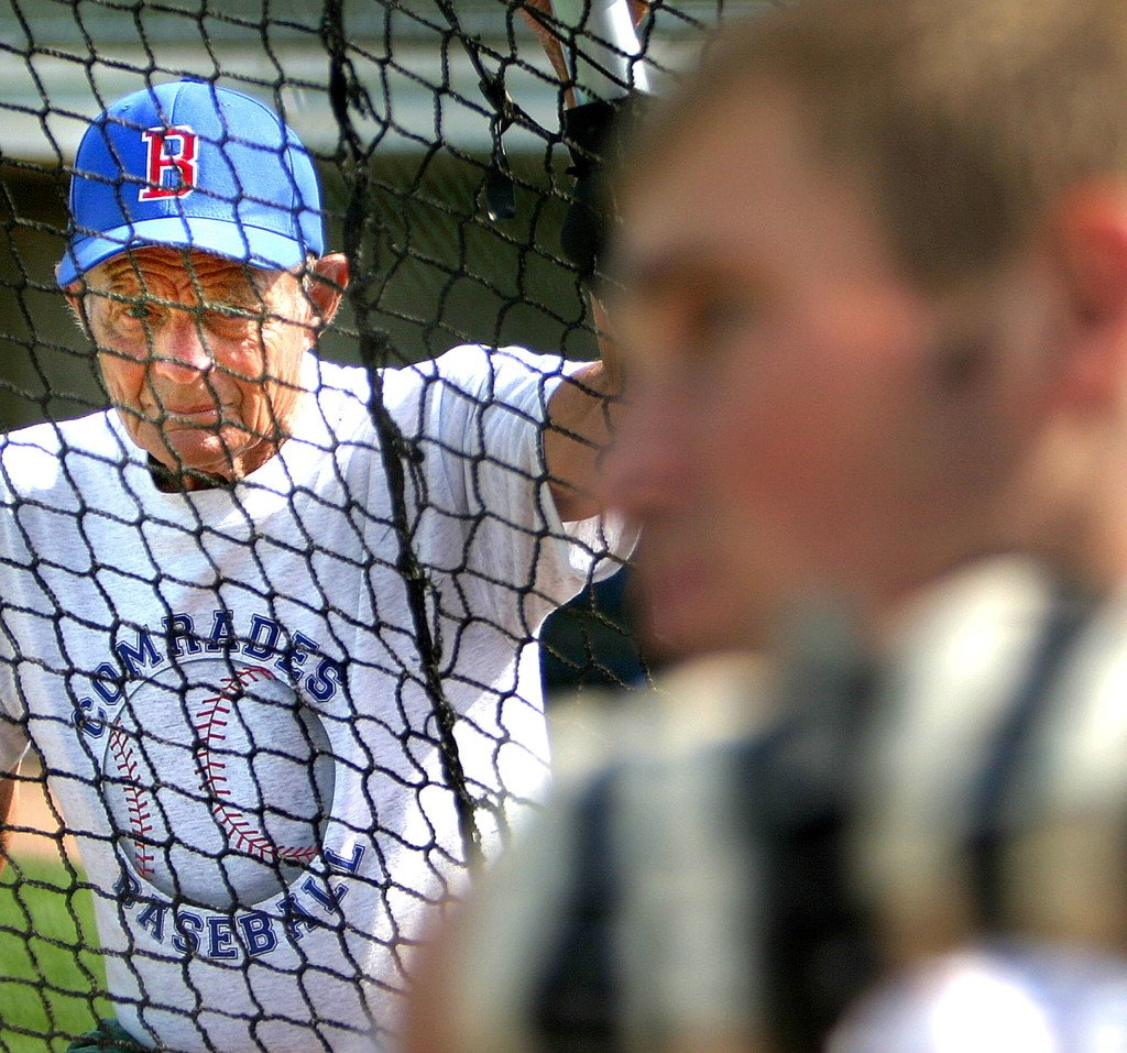 John Winkin watches a player at batting practice in 2005. Press Herald File Photo