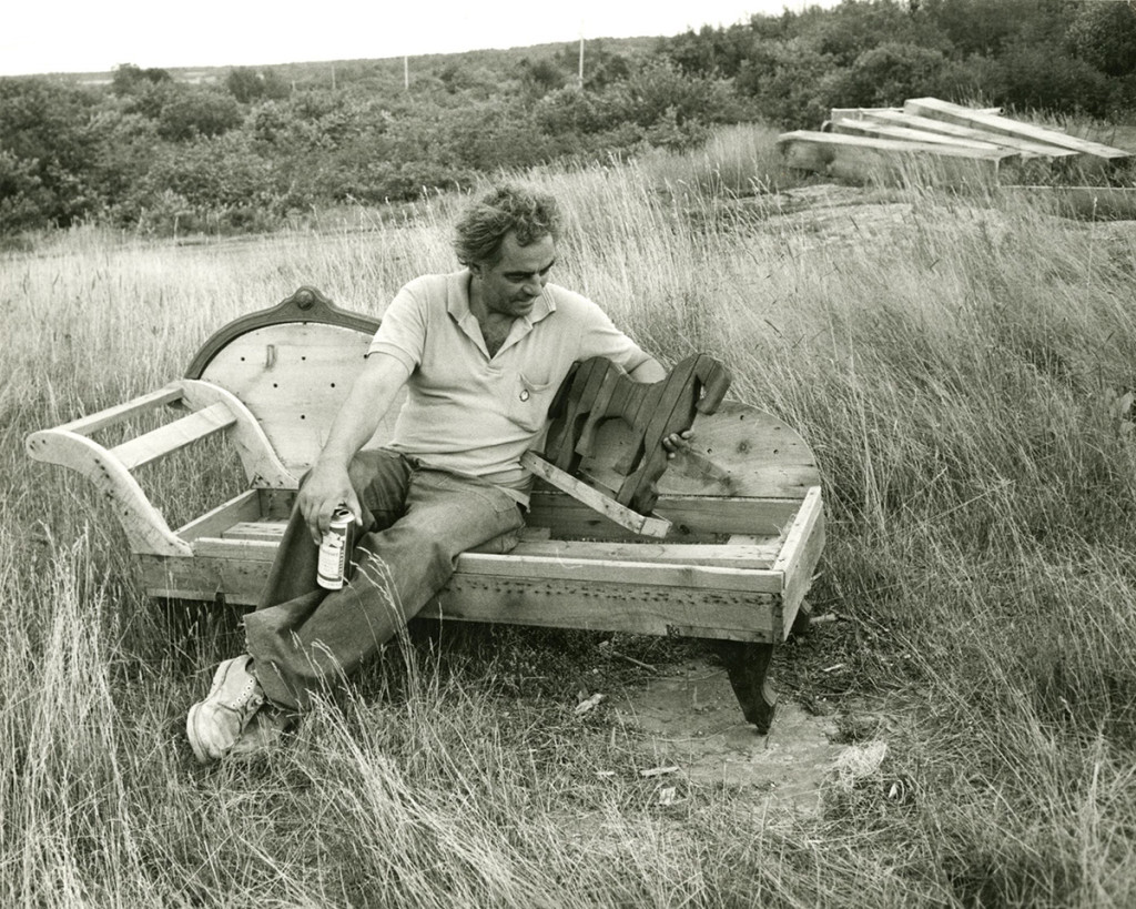 "Bernard Langlais with his model for ""Horse"" in Cushing in 1966. The future site of the sculpture is in the background."