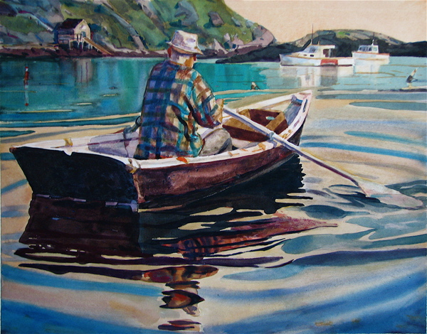 "Michael Vermette's ""Monhegan Lobsterman Rowing"""