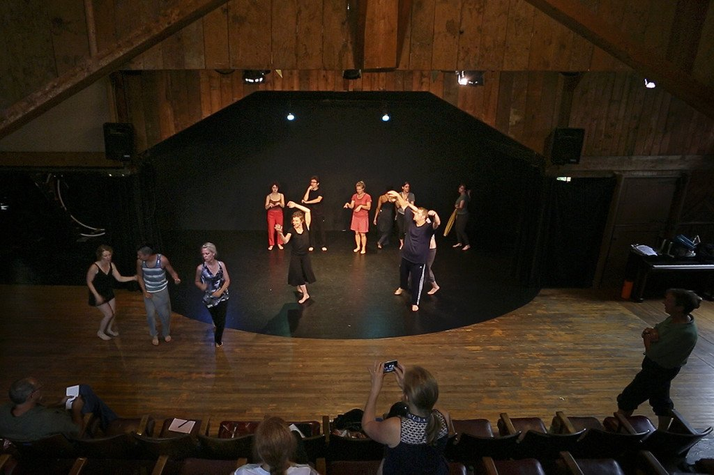 Actors and performers from across the world take part in a devising intensive workshop at the Celebration Barn Theater in South Paris. The barn was started by world famous mime Tony Montanaro in 1972 as a workshop and teaching space for aspiring artists. Montanaro has since died, but the space and its function remain the same.