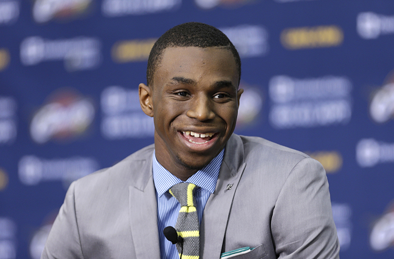 Cleveland Cavaliers' Andrew Wiggins answers questions during a news conference. The Associated Press