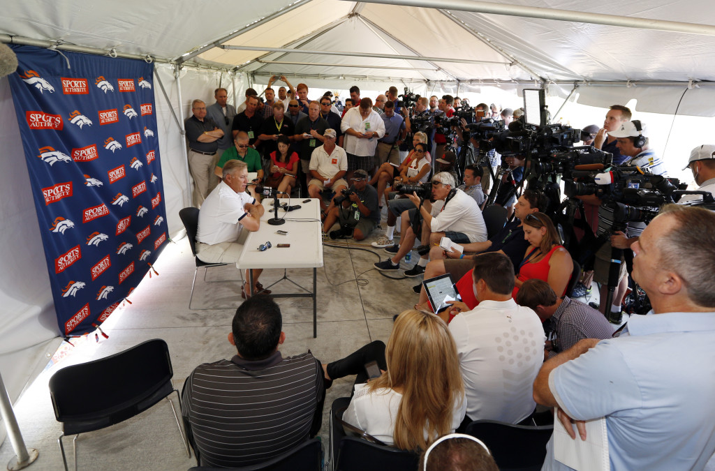 John Elway, Denver Broncos executive vice president of football operations, talks to the media during a news conference announcing that Broncos owner Pat Bowlen is giving up control of the team because of Alzheimer's disease, Wednesday, July 23, at the teams headquarters in Englewood, Colo. The Associated Press