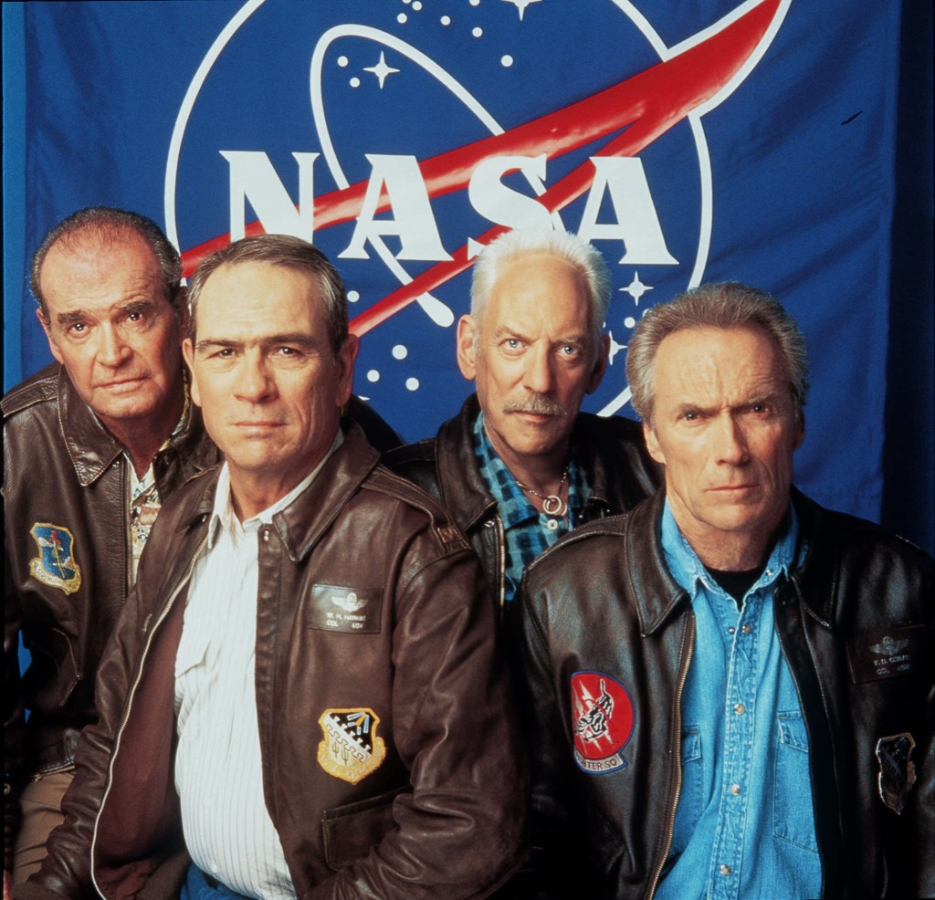 "From Left: James Garner, Tommy Lee Jones, Donald Sutherland and Clint Eastwood pose for Warner Brothers Pictures' ""Space Cowboys"" in this July 2000  photo.  The Associated Press"
