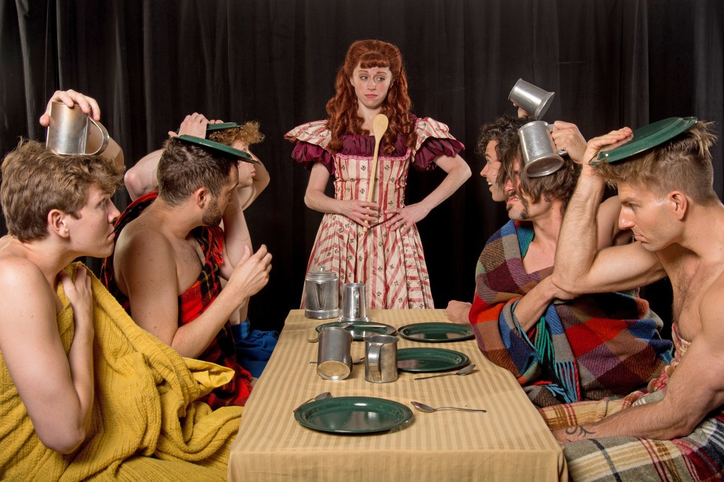 """From left, Alex Larson (Gideon), Eric Stretch (Caleb), J. Morgan White (Daniel), Heidi Kettenring (Milly), Michael R. Clement (Ephraim), Eric Sciotto (Frank) and Karl Warden (Benjamin) in a scene from Maine State Music Theatre's """"Seven Brides for Seven Brothers."""""""