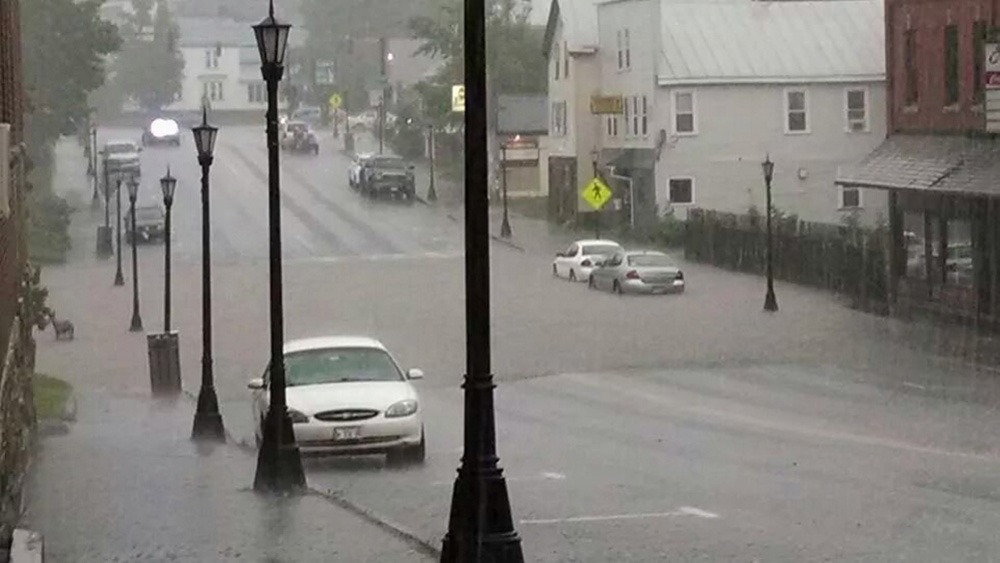 Main Street in Madison was flooded when the storm moved through Tuesday night.