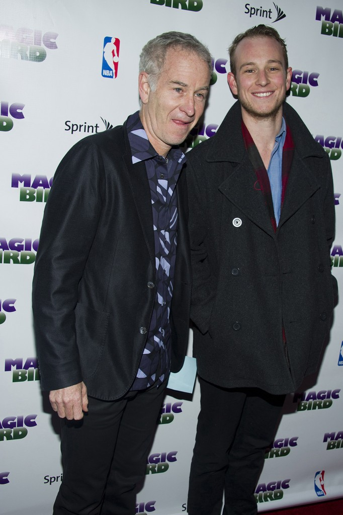 "In this April 11, 2012 file photo, John McEnroe and his son Kevin arrive for the opening night performance of the Broadway play ""Magic/Bird"" in New York. Kevin McEnroe was arrested Tuesday, during an alleged drug sale in New York's East Village."