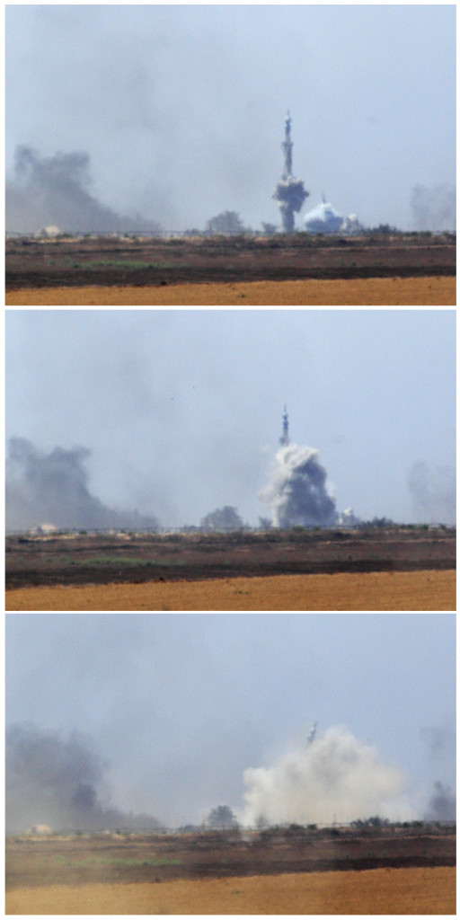 A combination photo shows the minaret of a mosque collapsing after an explosion in the southern Gaza Strip on Wednesday. Reuters