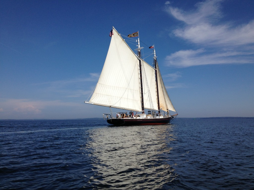 The  J&E Riggin sailing on Penobscot Bay in September 2013.  More than 75 percent of the schooner's food, supplies and labor come from within a 100-mile radius of its home port in Rockland.