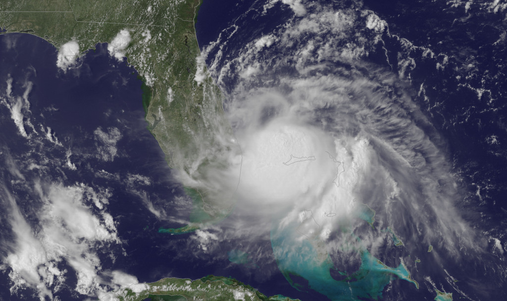 This Tuesday, July 1, 2014, satellite image released by the National Oceanic and Atmospheric Administration (NOAA), shows the center of Tropical Storm Arthur off the east coast of Florida.