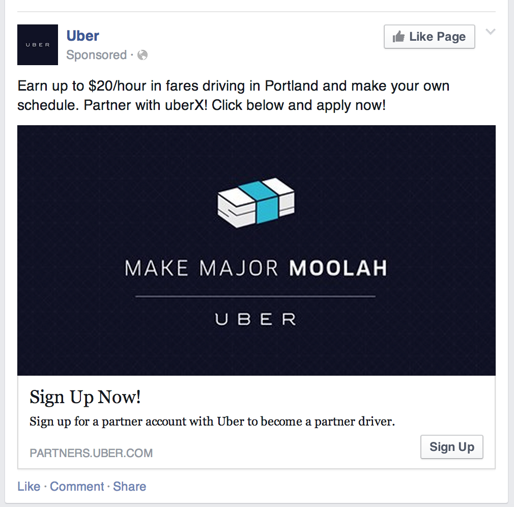 This screen shot shows one of the Uber ads showing up in Portland.