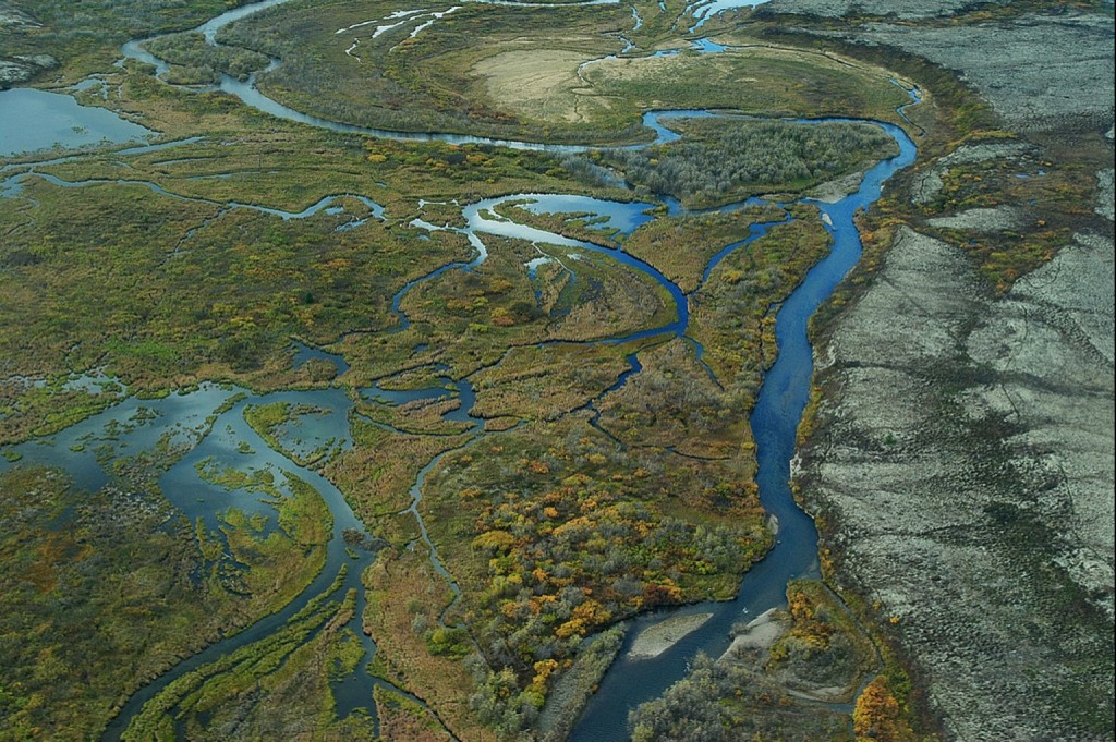 This aerial photo shows some of the wetlands downstream from the proposed Pebble mine in the Bristol Bay region of Alaska. EPA photo.