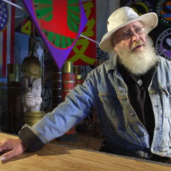 Artist Robert Indiana, shown at one of his studios on Vinalhaven, will take part in an international celebration of his art.
