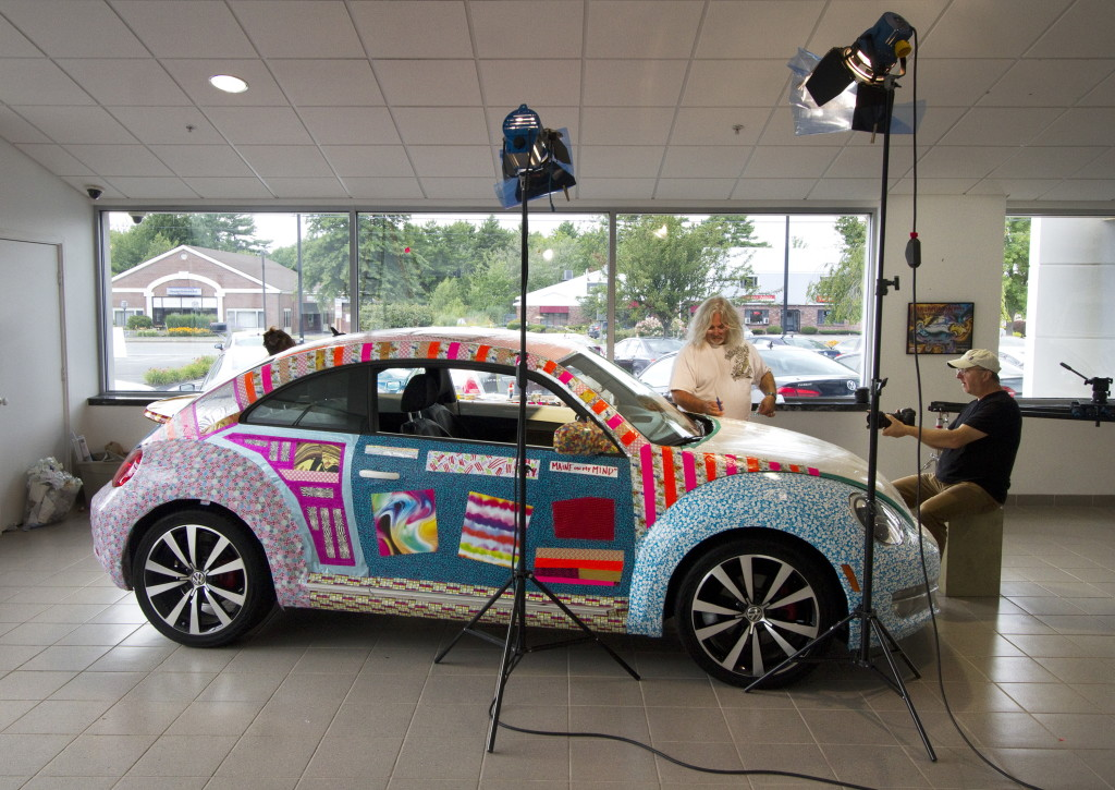 Gartel's 37th Art Car is on display at Morong Falmouth. His work is being filmed for a documentary and possible Volkswagen commercial.