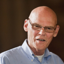 National Democratic strategist James Carville speaks during the annual Maine Democratic lobster bake fundraiser at Wolfe Neck Farm in Freeport on Sunday. Carl D. Walsh/Staff Photographer